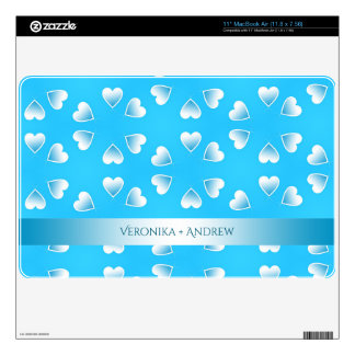 """Pretty small blue hearts. Add your own text. Skins For 11"""" MacBook Air"""