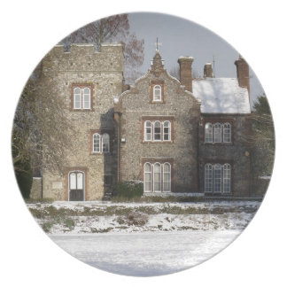 Pretty Snow Scene With Old Buildings Melamine Plate