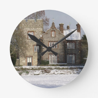 Pretty Snow Scene With Old Buildings Round Clock