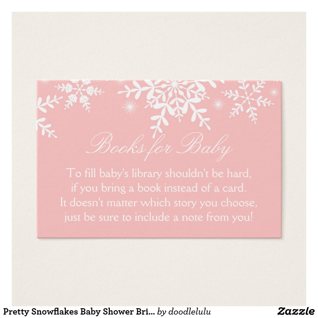 Pretty Snowflakes Baby Shower Bring a Book Card