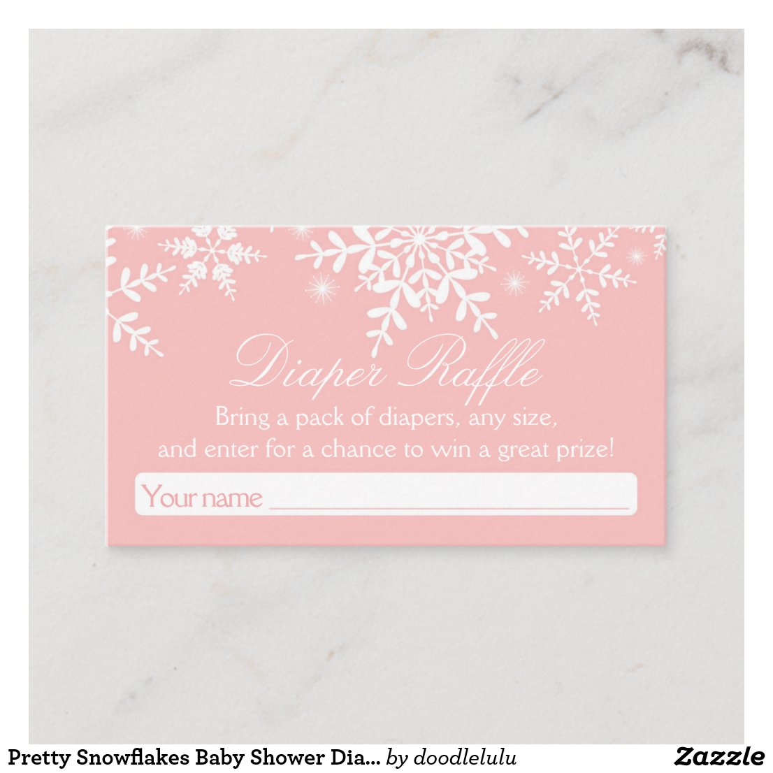 Pretty Snowflakes Baby Shower Diaper Raffle Ticket Enclosure Card