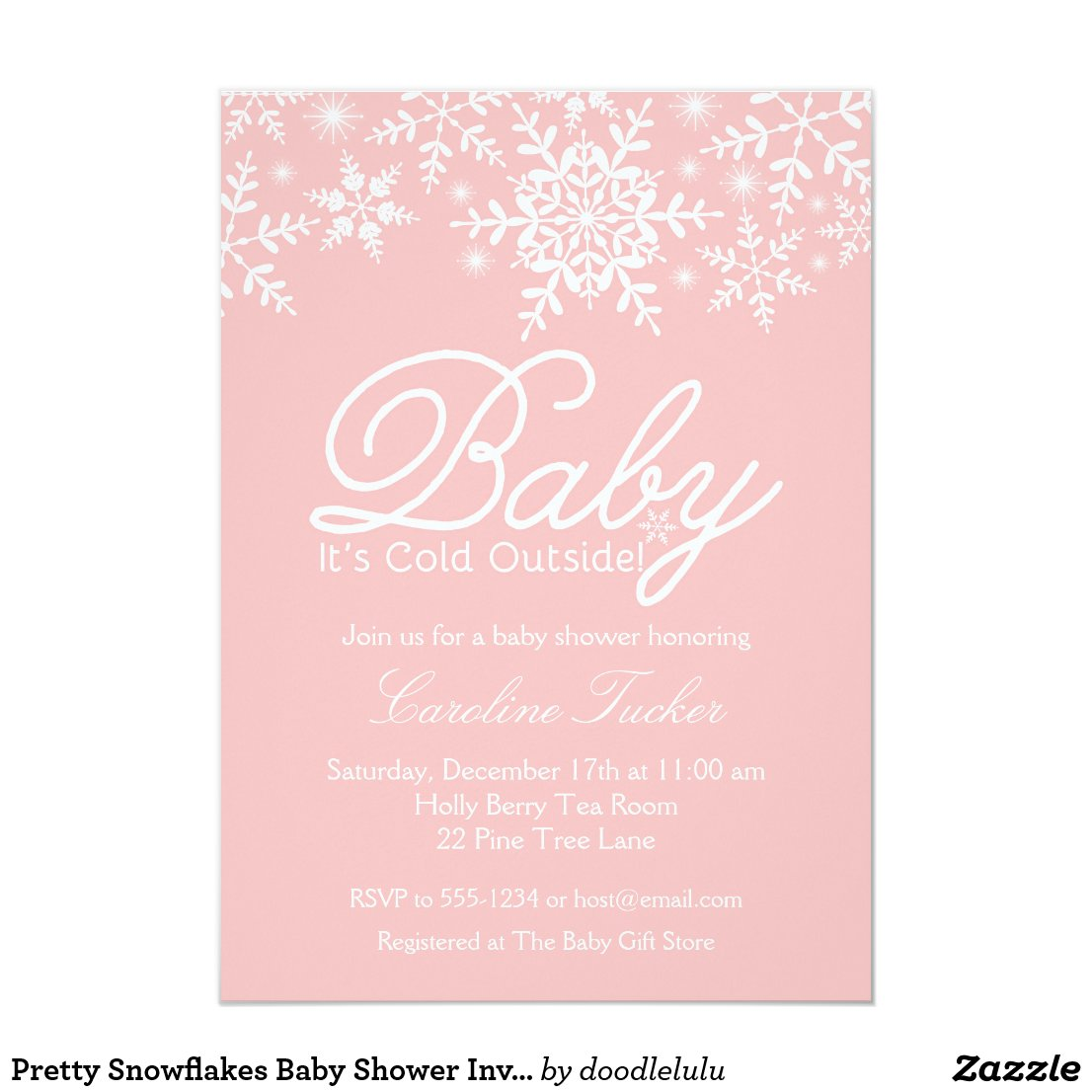 Pretty Snowflakes Baby Shower Invitation