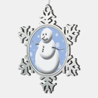 Pretty Snowman Blue White Christmas Tree Snowmen Snowflake Pewter Christmas Ornament