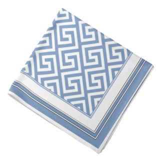 Pretty Soft Blue White Celtic Key Pattern Bandana
