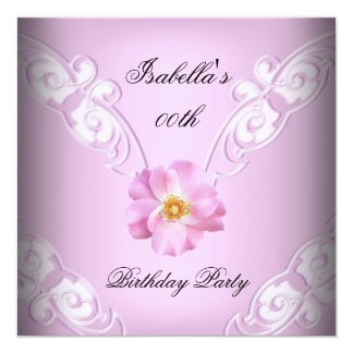 Pretty Soft Lilac Pink Rose Birthday Party Card