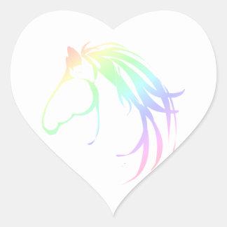 Pretty Soft Pastel Pink & Blue Horse Head Logo Heart Sticker