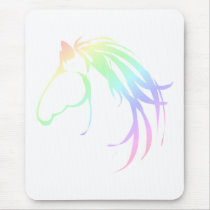 Pretty Soft Pastel Pink & Blue Horse Head Logo Mouse Pad