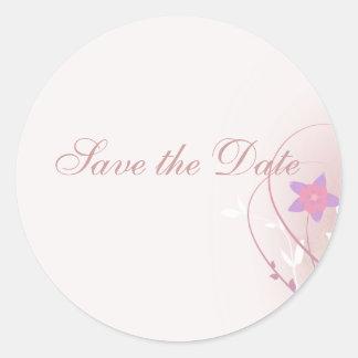 pretty soft pink flower elegant design classic round sticker
