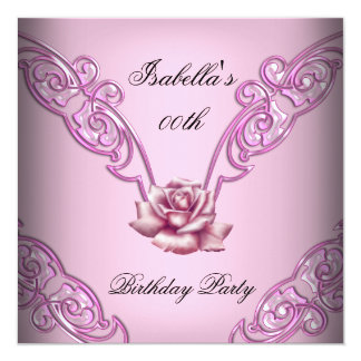 Pretty Soft Pink Rose Birthday Party Card