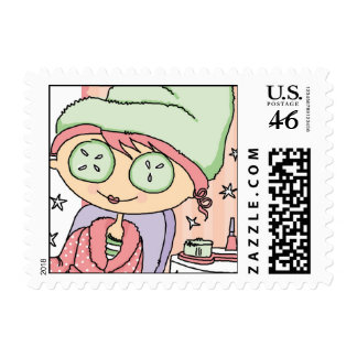 Pretty Spa Girl Postage Stamps