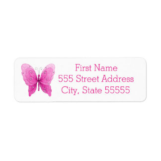 Pretty Sparkle Pink Butterfly Label