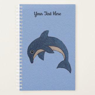Pretty Sparkling Dark blue White Jumping Dolphin Planner