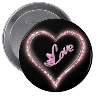 Pretty Sparkling 'Pink Love Jeweled Heart' Design Button