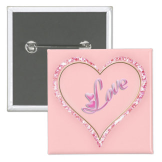 Pretty Sparkling 'Pink Love Jeweled Heart' Design Pin
