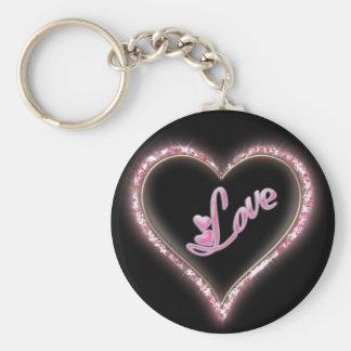 Pretty Sparkling 'Pink Love Jeweled Heart' Design Key Chain