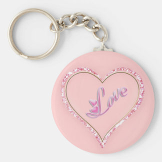 Pretty Sparkling 'Pink Love Jeweled Heart' Design Keychain