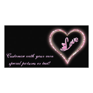 Pretty Sparkling 'Pink Love Jeweled Heart' Design Picture Card