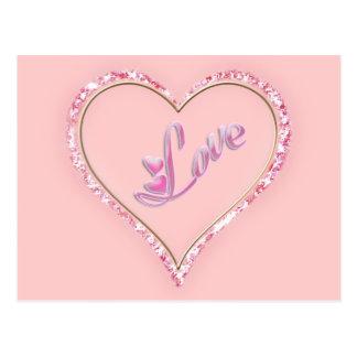 Pretty Sparkling 'Pink Love Jeweled Heart' Design Postcard