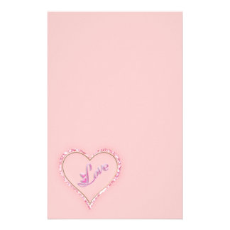 Pretty Sparkling 'Pink Love Jeweled Heart' Design Personalized Stationery