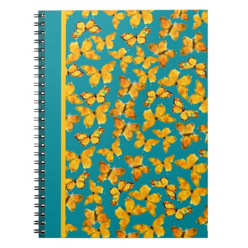Pretty Spiral Notebook, Golden Butterflies on Teal Spiral Notebooks