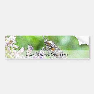 Pretty Spotted Ermine Moth on Agastache Car Bumper Sticker