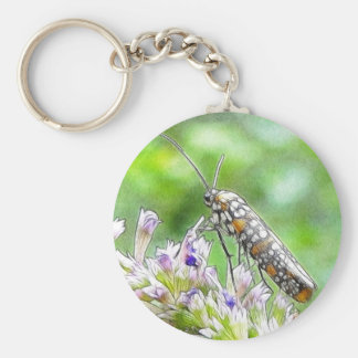 Pretty Spotted Ermine Moth on Agastache Keychain