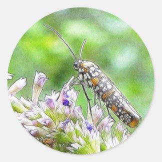 Pretty Spotted Ermine Moth on Agastache Classic Round Sticker