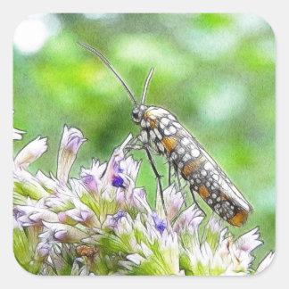 Pretty Spotted Ermine Moth on Agastache Square Sticker