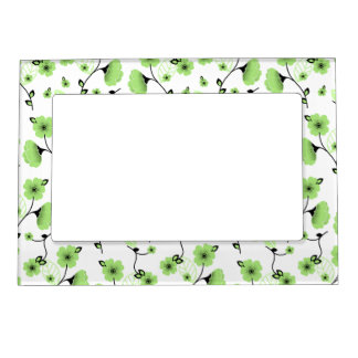 Pretty Spring Floral Pattern with Green Flowers Magnetic Picture Frame