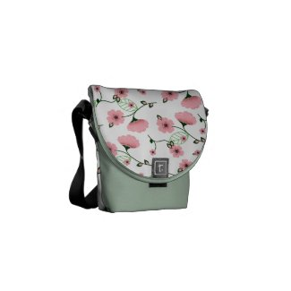 Pretty Spring Floral Pattern with Pink Flowers Courier Bags