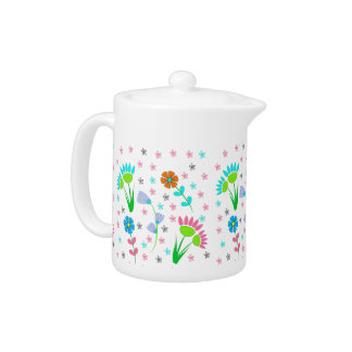 Pretty Spring Floral Patterned Teapot