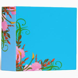 Pretty Spring Floral Sprays Against Bright Blue 3 Ring Binder