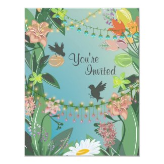 Pretty Spring Flowers and Birds Garden Baby Shower 4.25x5.5 Paper Invitation Card