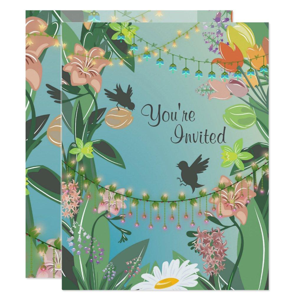 Pretty Spring Flowers and Birds Garden Baby Shower Card