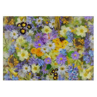 Pretty Spring Flowers Collage Cutting Board