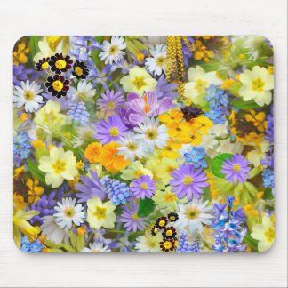 Pretty Spring Flowers Collage Mouse Pad
