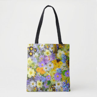 Pretty Spring Flowers Collage Tote Bag