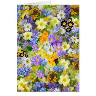 Pretty Spring Flowers Lush Colorful Bouquet Design Greeting Cards