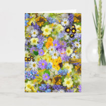 Pretty Spring Flowers Lush Colorful Bouquet Design Holiday Card