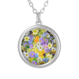 Pretty Spring Flowers Lush Colorful Bouquet Design Round Pendant Necklace