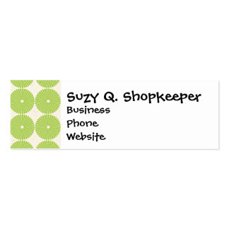 Pretty Spring Green Girly Circles Disks Pattern Double-Sided Mini Business Cards (Pack Of 20)