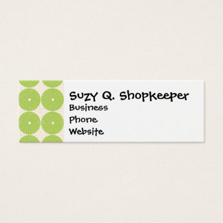 Pretty Spring Green Girly Circles Disks Pattern Mini Business Card