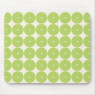 Pretty Spring Green Girly Circles Disks Pattern Mouse Pad