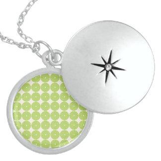 Pretty Spring Green Girly Circles Disks Pattern Pendants