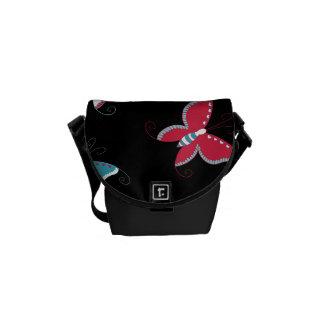 Pretty Spring Pink Blue Butterflies for Girls Messenger Bag