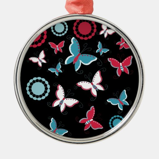Pretty Spring Pink Blue Butterflies for Girls Christmas Tree Ornament