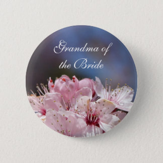 pretty spring pink cherry blossom in blue sky button
