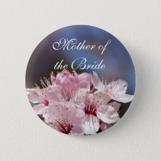 pretty spring pink cherry blossom in blue sky pinback button