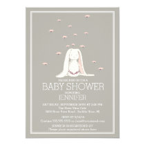 Pretty Spring Pink Girl Bunny Baby Shower Invitation