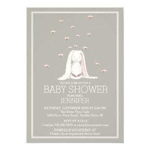 Pretty Spring Pink Bunny Baby Shower Invitation